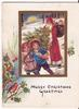 MERRY CHRISTMAS GREETINGS inset of santa and two children carrying Christmas tree