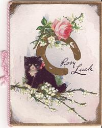 ROSY LUCK cat on branch below gilt horsehoe & exaggerated rose