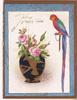 TELLING HAPPY TALES parrot perched to the right of vase containing roses