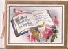 THE LORD BLESS THEE AND KEEP THEE open book with verse surrounded by roses