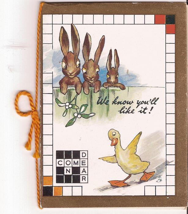 WE KNOW YOU'LL LIKE IT! three rabbits behind fence look at duck