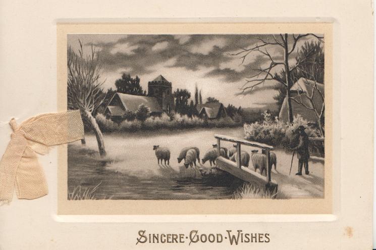 SINCERE GOOD WISHES winter scene sheep driven across bridge towards church & village