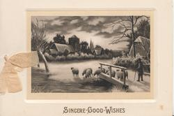 SINCERE GOOD WISHES winter scene sheep driven across bridge towards church & village