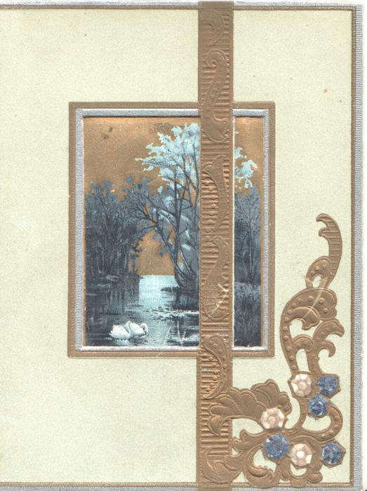 no front title, watery rural inset with swans, gilt embossed design, pale green background