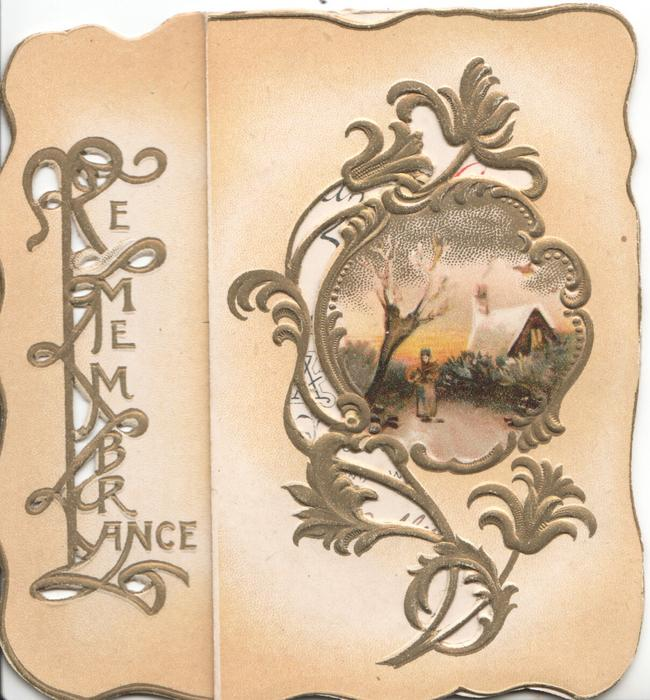 REMEMBRANCE(illuminated & perforated) silver & gilt surround rural evening inset, pale orange background