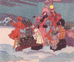 family in old style dress waits with holly adorned parcels for stagecoach at night, snow falls