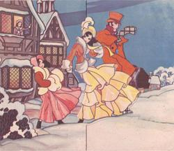 family of 3 in old style dress faces right, standing in snow, woman at open window in manor behind