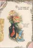 WITH THE BEST OF GOOD WISHES above vase of orange chrysanthemums, blue elf below, marginal  design