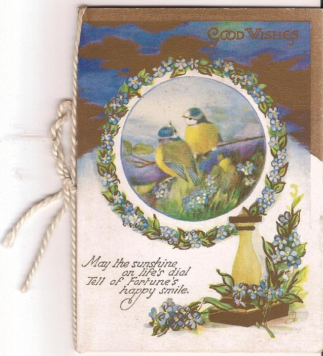GOOD WISHES inset of two birds perched on branch above verse