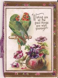WISHING YOU ALL THE GOOD THINGS YOU WISH YOURSELF two parrots look at each other perched above flowers