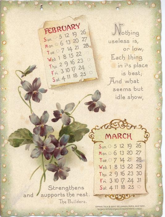 LONGFELLOW CALENDAR FOR 1899