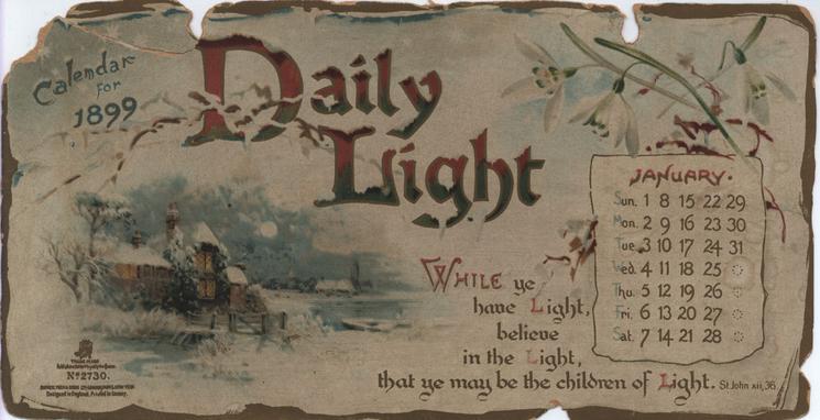 DAILY LIGHT CALENDAR FOR 1899