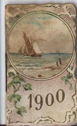 1900 sailing ship in circular vignette