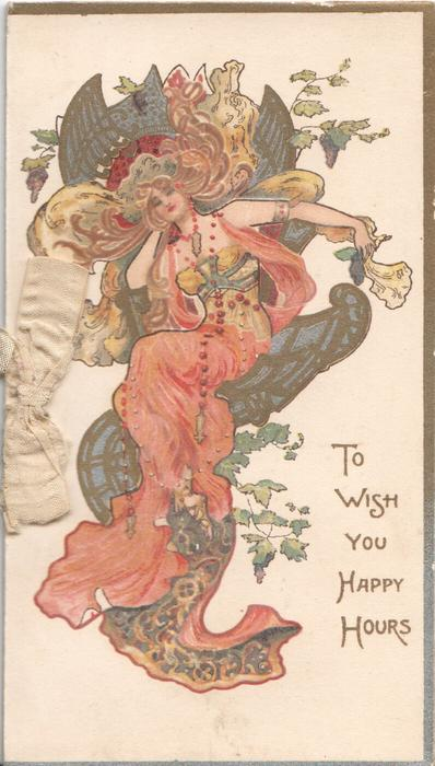 TO WISH YOU HAPPY HOURS woman in red & green/gold, seated in fantastic chair