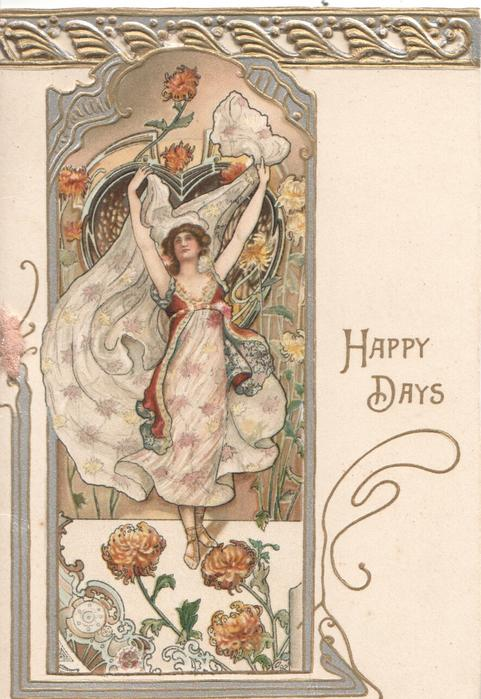 HAPPY DAYS woman wearing white dress with stars, both arms above her head, she looks front & up