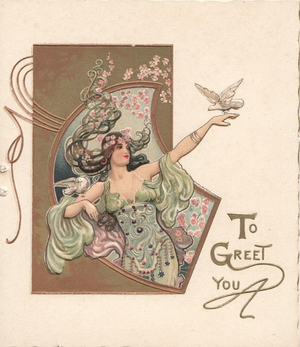 TO GREET YOU woman in light green & purple, doves on outstretched hand & right upper arm