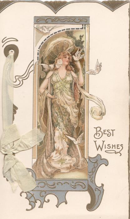 BEST WISHES woman wearing green, doves on left hand & right shoulder, two flying, she looks right