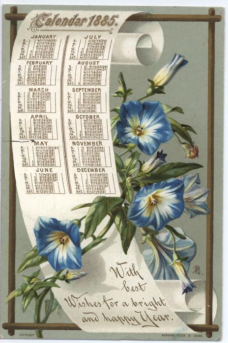 CALENDAR 1885 blue flowers