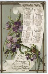CALENDAR 1885 purple flowers