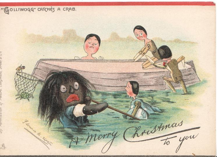 """""""GOLLIWOGG"""" CATCHES A CRAB   opt. A MERRY CHRISTMAS TO YOU"""