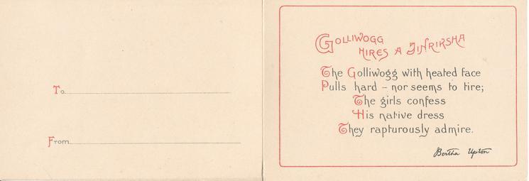 """GOLLIWOGG"" HIRES A JINRIKSHA     opt.  WITH FOND LOVE"