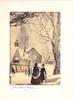 CHRISTMASTIME couple stands near prominent tree, right, church in mid-view behind, snow
