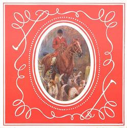 ovular inset on red background with white trim, man on horseback with dogs for foxhunt