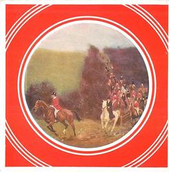 circular inset on red background, fox hunt with many men on horseback, distant images indistinct