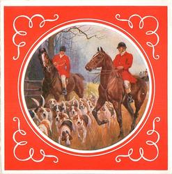 circular inset on red background with white trim, two men on horseback with many dogs for foxhunt