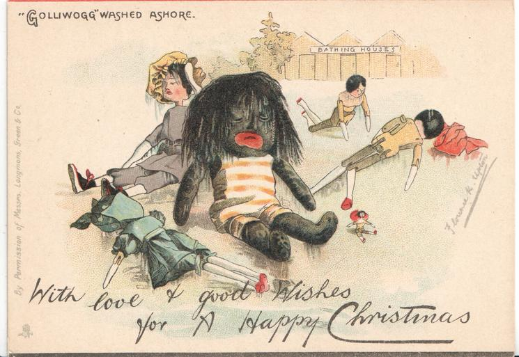 """GOLLIWOGG"" WASHED ASHORE   opt. WIITH LOVE AND GOOD WISHES FOR A HAPPY CHRISTMAS"