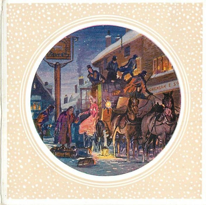 circular inset with snow-like dots cream background, nightfall, stagecoach stopped at tavern to let woman out