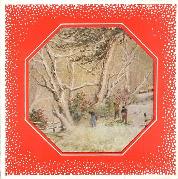 octagonal inset with snow-like dots on red background, 3 people gather holly, mid-distant view