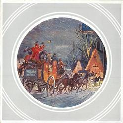 circular inset on grey background with white rings, stagecoach, facing away, rides toward town in rain, night view