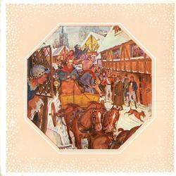 octaganal inset on cream background with snow-like white dots, stagecoach on crowded town street, woman at window