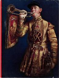 man in uniform with King George the 6th monogram blows bugle, navy blue background, red stipe left