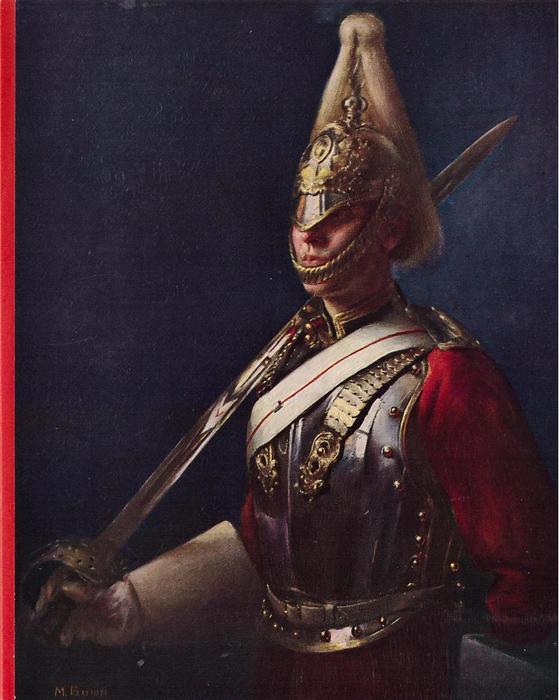 TROOPER, THE LIFE GUARDS (inside left) guard faces part left, navy blue background, red stripe left