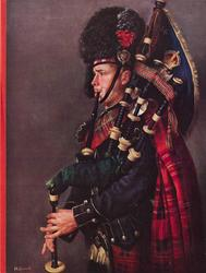 PIPER, SCOTS GUARD (inside left) guard faces left, playing bagpipes, grey background, red stripe left
