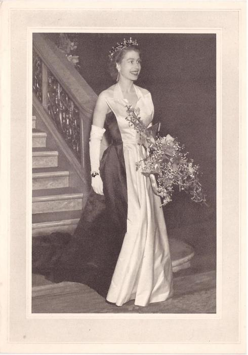no front title, QEII at staircase bottom holding large bouquet