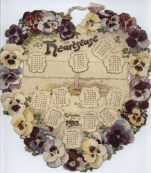 HEARTSEASE CALENDAR FOR 1902 circular wreath of pansies