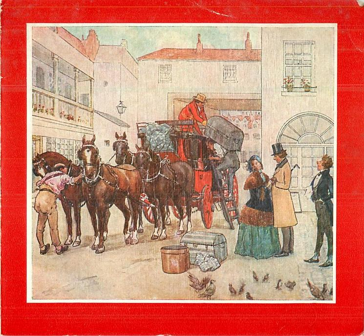 stagecoach stopped in town, large trunk unloaded upon gentleman's  back