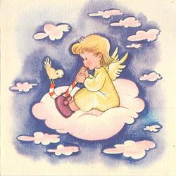 no front title, child angel faces left, sitting on cloud, holds large candy cane up to mouth with bird perched on the end