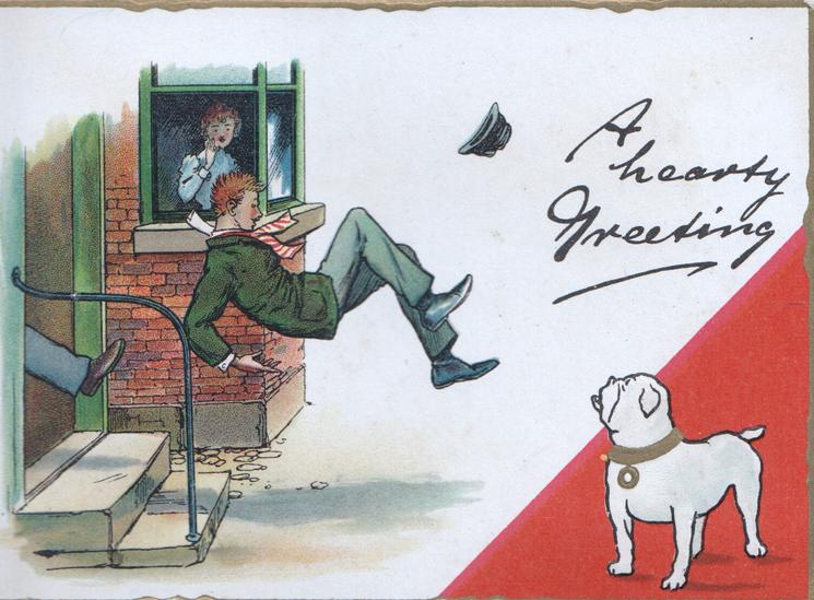 A HEARTY GREETING, young man kicked down steps, bulldog observes, girl in window horrified