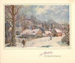 A HAPPY CHRISTMAS man walks forward near large tree, cottages, farm buildings & trees behind, snow