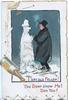 I SAY OLD FELLOW! YOU DONT S'NOW ME! DOO YOU?(illuminated) drunk talks to snowman, bottle & cigarettes left
