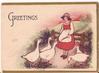 GREETINGS woman in dress stands in front of five white geese