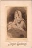 JOYFUL GREETINGS nativity scene, mary in prayer beside baby jesus, titled THE NATIVITY