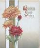 SINCERE GOOD WISHES in gilt orange & red chrysanthemums over striped design left