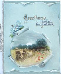 GREETINGS AND ALL GOOD WISHES above evening harvest scene, blue background