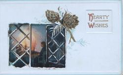 HEARTY WISHES in gilt, inset of open cottage window, 2 people sitting by blazing fire, gilt pinecone above right
