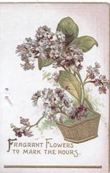 FRAGRANT FLOWERS TO MARK THE HOURS in gilt, purple lilac in gilt basket